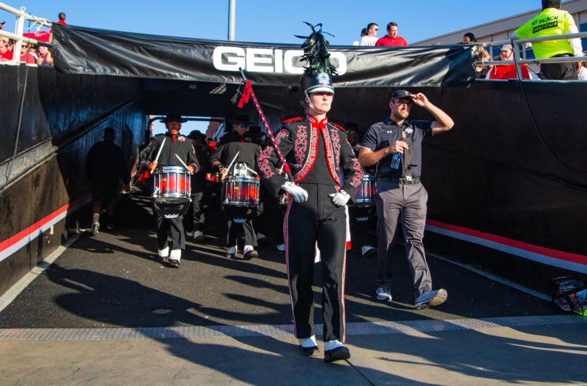 LUBBOCK, TEXAS - SEPTEMBER 07: Texas Tech's The Goin' Band from Raiderland enters the stadium before the college football game between the Texas Tech Red Raiders and the UTEP Miners on September 07, 2019 at Jones AT&T Stadium in Lubbock, Texas. (Photo by John E. Moore III/Getty Images)