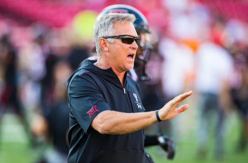 LUBBOCK, TEXAS - SEPTEMBER 07: Defensive coordinator Keith Patterson of Texas Tech gives instructions during warmups before the college football game between the Texas Tech Red Raiders and the UTEP Miners on September 07, 2019 at Jones AT&T Stadium in Lubbock, Texas. (Photo by John E. Moore III/Getty Images)
