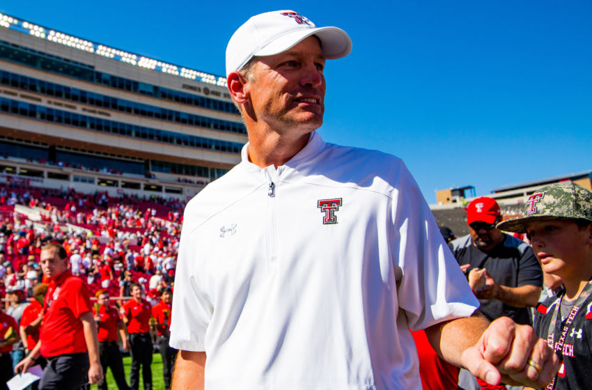 LUBBOCK, TEXAS - OCTOBER 05: Head coach Matt Wells of the Texas Tech Red Raiders leaves the field after the college football game against the Oklahoma State Cowboys on October 05, 2019 at Jones AT&T Stadium in Lubbock, Texas. (Photo by John E. Moore III/Getty Images)