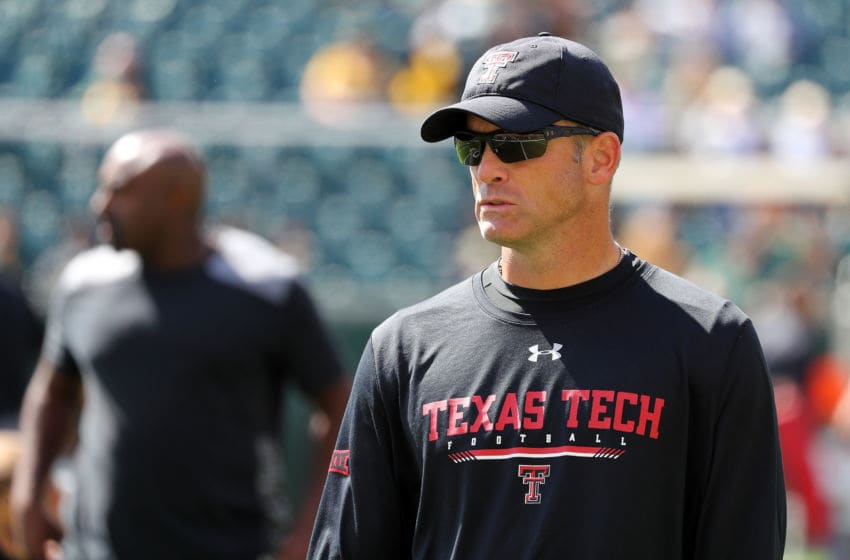WACO, TEXAS - OCTOBER 12: Head coach Matt Wells of the Texas Tech Red Raiders before the game against the Baylor Bears on October 12, 2019 in Waco, Texas. (Photo by Richard Rodriguez/Getty Images)