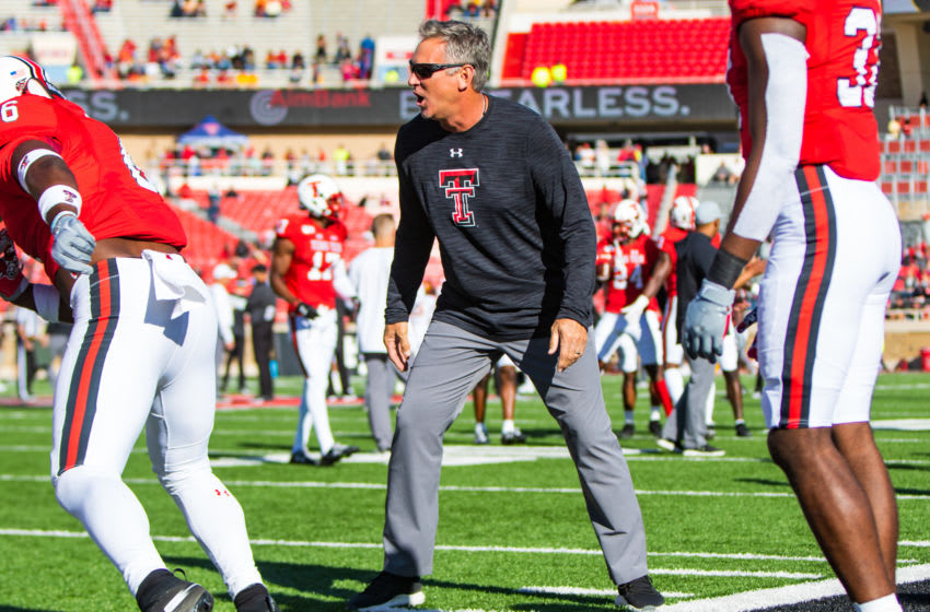LUBBOCK, TEXAS - OCTOBER 19: Defensive coordinator Keith Patterson of the Texas Tech Red Raiders oversees warmups before the college football game against the Iowa State Cyclones on October 19, 2019 at Jones AT&T Stadium in Lubbock, Texas. (Photo by John E. Moore III/Getty Images)