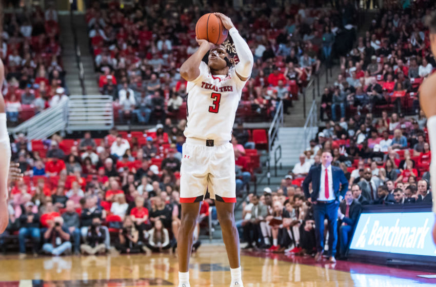 LUBBOCK, TEXAS - NOVEMBER 05: Guard Jahmi'us Ramsey #3 of the Texas Tech Red Raiders shoots a three-pointer during the first half of the college basketball game against the Eastern Illinois Panthers at United Supermarkets Arena on November 05, 2019 in Lubbock, Texas. (Photo by John E. Moore III/Getty Images)