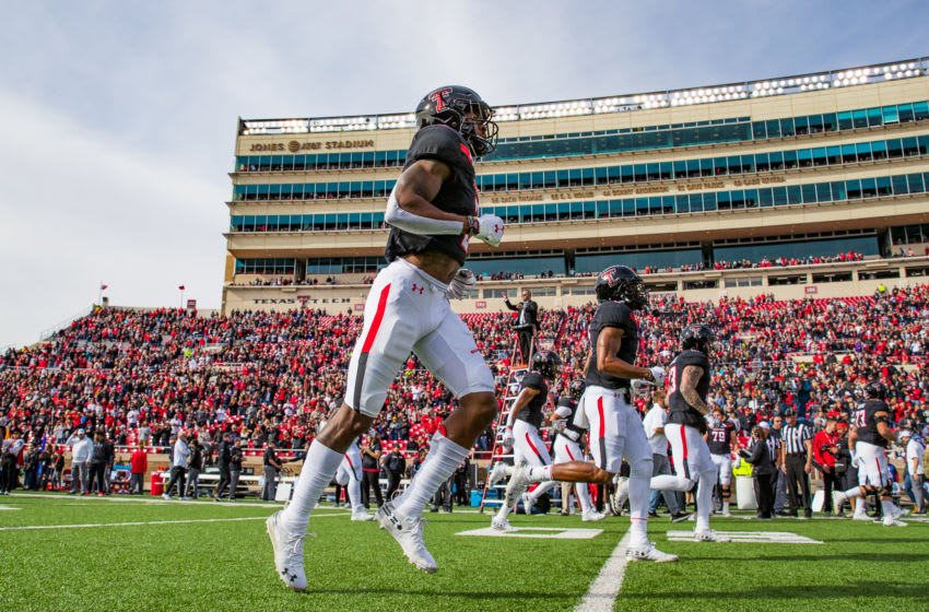 LUBBOCK, TEXAS - NOVEMBER 16: Defensive back Douglas Coleman IIII #3 of the Texas Tech Red Raiders enters the field before the college football game against the TCU Horned Frogs on November 16, 2019 at Jones AT&T Stadium in Lubbock, Texas. (Photo by John E. Moore III/Getty Images)