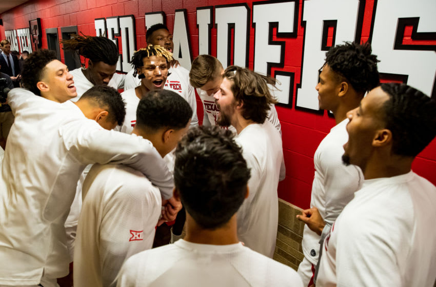 LUBBOCK, TEXAS - NOVEMBER 24: The Texas Tech Red Raiders huddle before entering the court before the college basketball game against the LIU Sharks on November 24, 2019 at United Supermarkets Arena in Lubbock, Texas. (Photo by John E. Moore III/Getty Images)