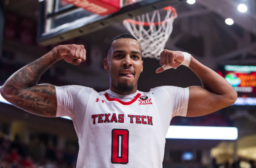 LUBBOCK, TEXAS - NOVEMBER 24: Guard Kyler Edwards #0 of the Texas Tech Red Raiders flexes after scoring through a foul during the second half of the college basketball game against the LIU Sharks on November 24, 2019 at United Supermarkets Arena in Lubbock, Texas. (Photo by John E. Moore III/Getty Images)