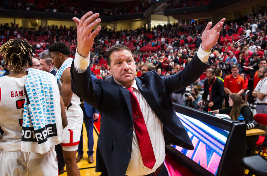 LUBBOCK, TEXAS - NOVEMBER 24: Head coach Chris Beard of the Texas Tech Red Raiders invites students onto the court after the college basketball game against the LIU Sharks on November 24, 2019 at United Supermarkets Arena in Lubbock, Texas. (Photo by John E. Moore III/Getty Images)