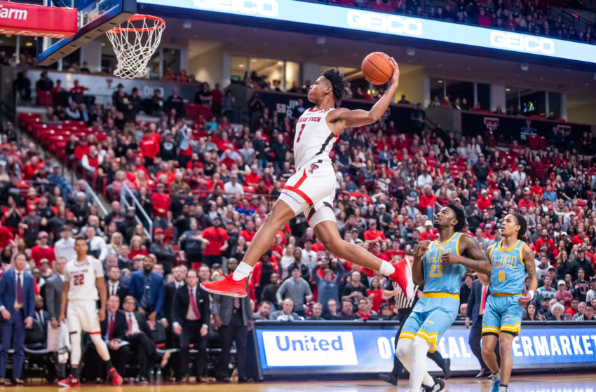 LUBBOCK, TEXAS - NOVEMBER 24: Guard Terrence Shannon #1 of the Texas Tech Red Raiders attempts a dunk during the second half of the college basketball game against the LIU Sharks on November 24, 2019 at United Supermarkets Arena in Lubbock, Texas. (Photo by John E. Moore III/Getty Images)
