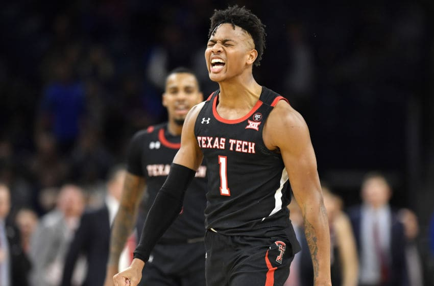 CHICAGO, ILLINOIS - DECEMBER 04: Terrence Shannon Jr. #1 of the Texas Tech Red Raiders reacts after making a three pointer in the second half against the DePaul Blue Demons at Wintrust Arena on December 04, 2019 in Chicago, Illinois. (Photo by Quinn Harris/Getty Images)