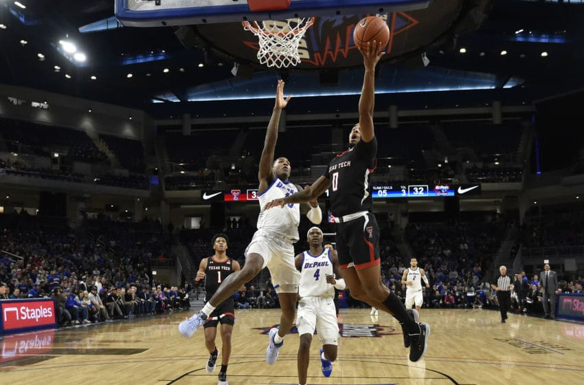 CHICAGO, ILLINOIS - DECEMBER 04: Kyler Edwards #0 of the Texas Tech Red Raiders shoots a lay up in the second half against the DePaul Blue Demons at Wintrust Arena on December 04, 2019 in Chicago, Illinois. (Photo by Quinn Harris/Getty Images)