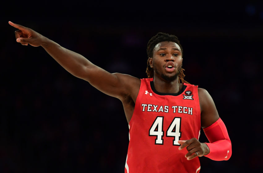 NEW YORK, NEW YORK - DECEMBER 10: Chris Clarke #44 of the Texas Tech Red Raiders reacts during the second half of their game against the Louisville Cardinals at Madison Square Garden on December 10, 2019 in New York City. (Photo by Emilee Chinn/Getty Images)
