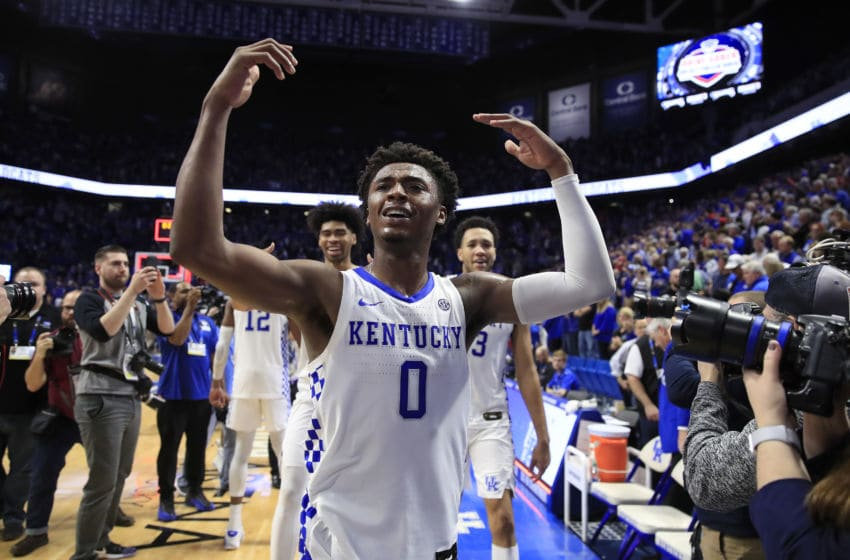 LEXINGTON, KENTUCKY - DECEMBER 28: Ashton Hagans #0 of the Kentucky Wildcats celebrates after 78-70 OT win against the Louisville Cardinals at Rupp Arena on December 28, 2019 in Lexington, Kentucky. (Photo by Andy Lyons/Getty Images)