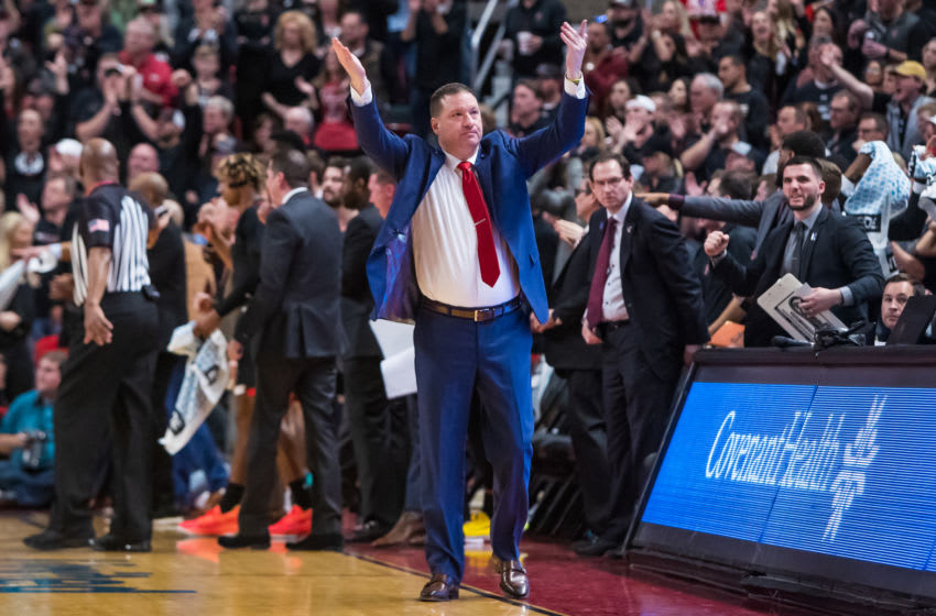 LUBBOCK, TEXAS - JANUARY 25: Head coach Chris Beard of the Texas Tech Red Raiders gestures during the first half of the college basketball game against the Kentucky Wildcats on January 25, 2020 at United Supermarkets Arena in Lubbock, Texas. (Photo by John E. Moore III/Getty Images)