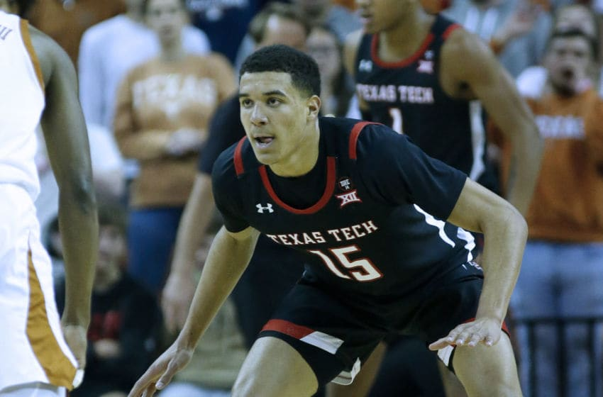 AUSTIN, TEXAS - FEBRUARY 08: Kevin McCullar #15 of the Texas Tech Red Raiders plays defense against the Texas Longhorns at The Frank Erwin Center on February 08, 2020 in Austin, Texas. (Photo by Chris Covatta/Getty Images)