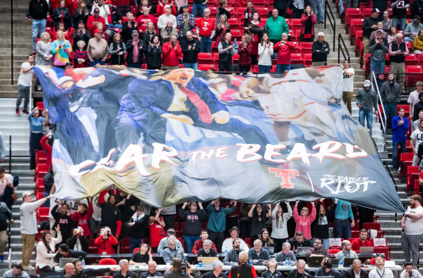 LUBBOCK, TEXAS - FEBRUARY 19: A banner bearing an image of head coach Chris Beard is unfurled before the college basketball game against the Kansas State Wildcats on February 19, 2020 at United Supermarkets Arena in Lubbock, Texas. (Photo by John E. Moore III/Getty Images)