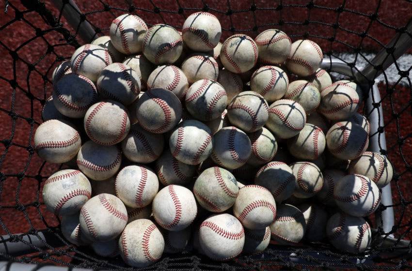 ELON, NC - MARCH 1: A basket of baseballs during a game between Indiana State and Elon at Walter C. Latham Park on March 1, 2020 in Elon, North Carolina. (Photo by Andy Mead/ISI Photos/Getty Images)