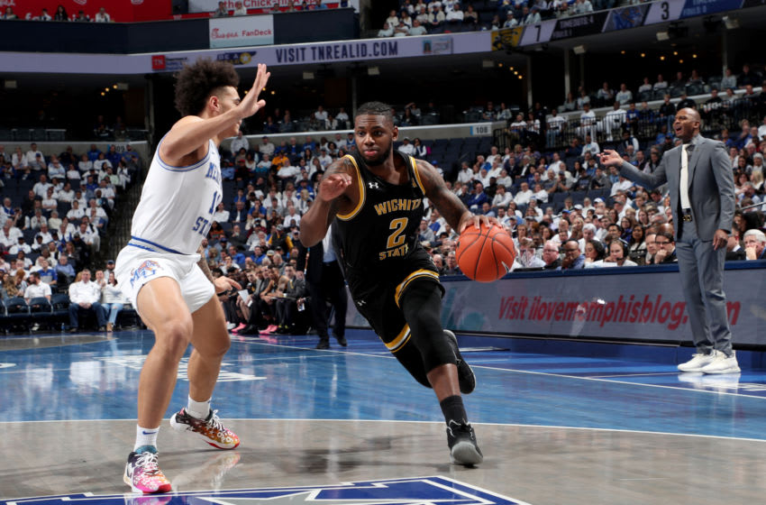 MEMPHIS, TN - MARCH 05: Jamarius Burton #2 of the Wichita State Shockers dribbles the ball against the Memphis Tigers during a game on March 5, 2020 at FedExForum in Memphis, Tennessee. Memphis defeated Wichita State 68-60. (Photo by Joe Murphy/Getty Images)