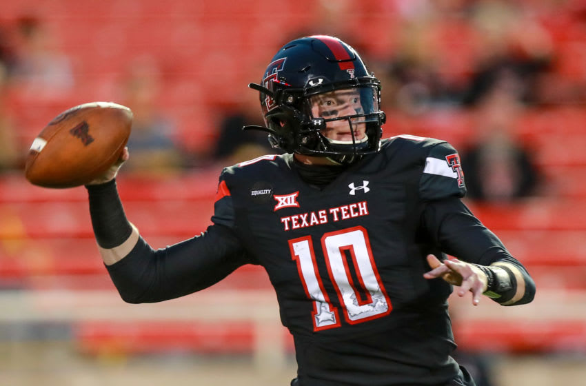 LUBBOCK, TEXAS - SEPTEMBER 12: Quarterback Alan Bowman #10 of the Texas Tech Red Raiders passes the ball during the first half of the college football game against the Houston Baptist Huskies on September 12, 2020 at Jones AT&T Stadium in Lubbock, Texas. (Photo by John E. Moore III/Getty Images)