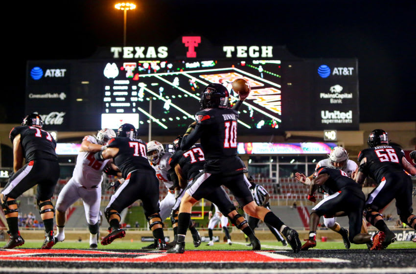 LUBBOCK, TEXAS - SEPTEMBER 12: Quarterback Alan Bowman #10 of the Texas Tech Red Raiders passes the ball during the second half of the college football game against the Houston Baptist Huskies on September 12, 2020 at Jones AT&T Stadium in Lubbock, Texas. (Photo by John E. Moore III/Getty Images)