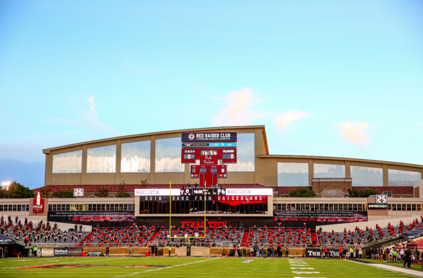 LUBBOCK, TEXAS - OCTOBER 31: Jones AT&T Stadium is pictured before the college football game between the Texas Tech Red Raiders and the Oklahoma Sooners on October 31, 2020 in Lubbock, Texas. (Photo by John E. Moore III/Getty Images)
