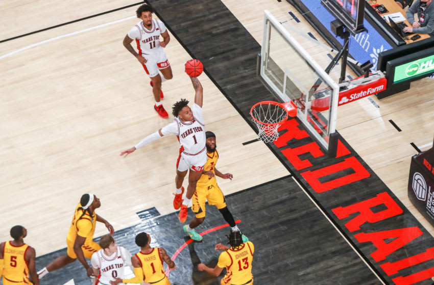 LUBBOCK, TEXAS - MARCH 04: Guard Terrence Shannon #1 of the Texas Tech Red Raiders dunks the ball during the first half against the Iowa State Cyclones at United Supermarkets Arena on March 04, 2021 in Lubbock, Texas. (Photo by John E. Moore III/Getty Images)