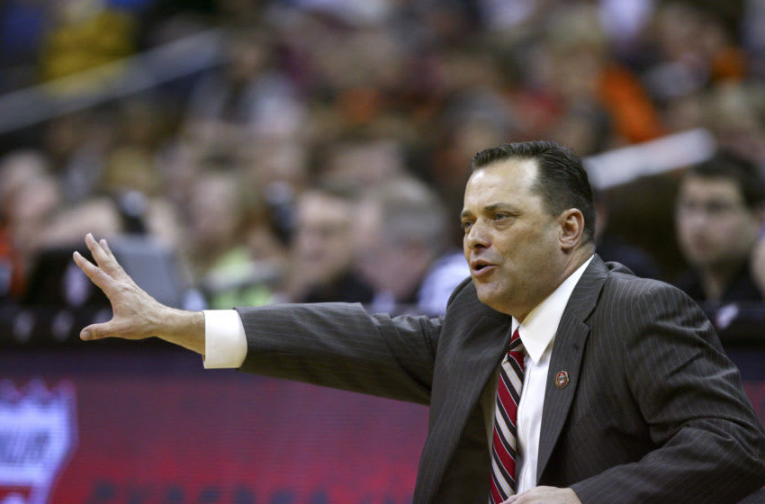 KANSAS CITY, MO - MARCH 07: Billy Gillispie head coach of the Texas Tech Red Raiders directs his team during a game against Oklahoma State Cowboys the first round of the Big 12 Basketball Tournament March 07, 2011 at Sprint Center in Kansas City, Missouri. (Photo by Ed Zurga/Getty Images)
