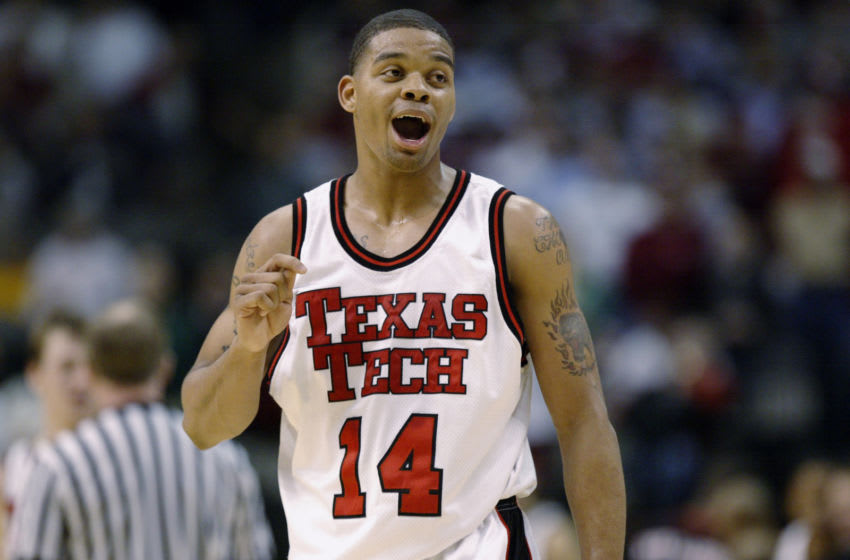 DALLAS - MARCH 13: Andre Emmett #14 of the Texas Tech Red Raiders reacts on the court against the Baylor Bears during the Phillips 66 Big XII Championships at American Airlines Center on March 13, 2003 in Dallas, Texas. The Red Raiders won 68-65. (Photo by Brian Bahr/Getty Images)