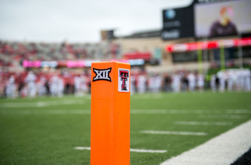 LUBBOCK, TX - OCTOBER 11: General view of the end zone pylon prior to the game between the Texas Tech Red Raiders and the West Virginia Mountaineers on October 11, 2014 at Jones AT&T Stadium in Lubbock, Texas. West Virginia won the game 37-34. (Photo by John Weast/Getty Images)
