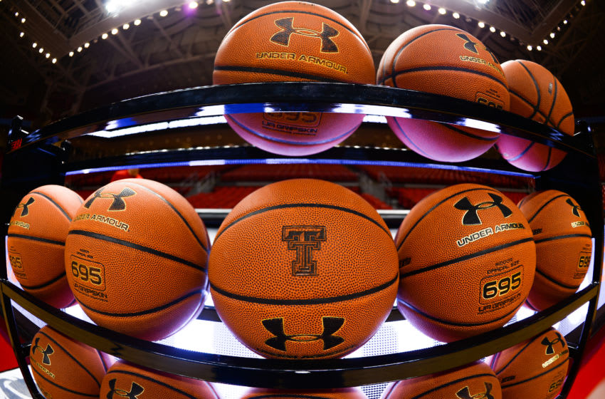 LUBBOCK, TX - JANUARY 02: General view of a rack of Under Armour basketballs taken before the game between the Texas Tech Red Raiders and the Texas Longhorns on January 02, 2016 at United Supermarkets Arena in Lubbock, Texas. Texas Tech won the game 82-74. (Photo by John Weast/Getty Images)