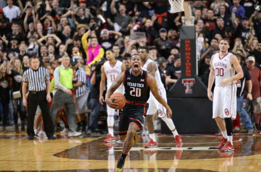 LUBBOCK, TX - FEBRUARY 17: Toddrick Gotcher #20 of the Texas Tech Red Raiders reacts after the game against the Oklahoma Sooners on February 17, 2016 at United Supermarkets Arena in Lubbock, Texas. Texas Tech defeated Oklahoma 65-63. (Photo by John Weast/Getty Images)