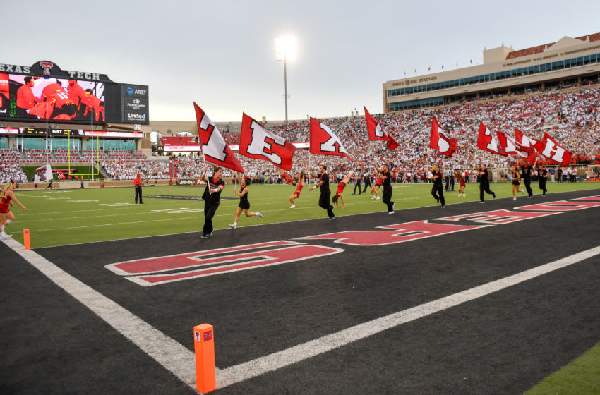 LUBBOCK, TX - SEPTEMBER 17: The Texas Tech Red Raider cheerleaders celebrate a touchdown during the game between the Texas Tech Red Raiders and the Louisiana Tech Bulldogs on September 17, 2016 at AT&T Jones Stadium in Lubbock, Texas. Texas Tech won the game 59-45. (Photo by John Weast/Getty Images)