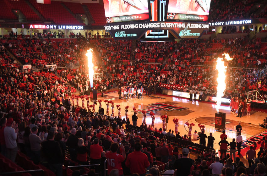 LUBBOCK, TX - FEBRUARY 4: General view of United Supermarkets Arena during player introductions before the game between the Texas Tech Red Raiders and the Oklahoma Sooners on February 4, 2017 at United Supermarkets Arena in Lubbock, Texas. Texas Tech defeated Oklahoma 77-69. (Photo by John Weast/Getty Images) *** Local Caption ***