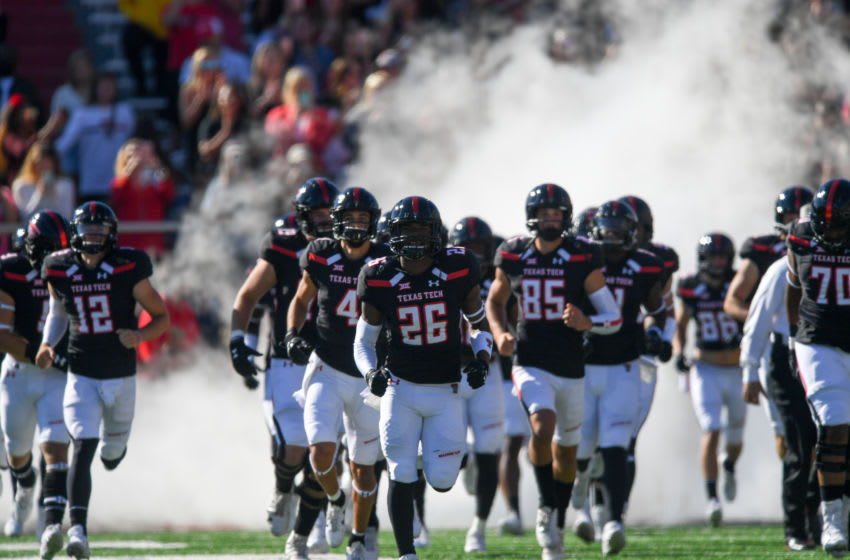 LUBBOCK, TX - OCTOBER 21: The Texas Tech Red Raiders take the field before the game against the Iowa State Cyclones on October 21, 2017 at Jones AT&T Stadium in Lubbock, Texas. Iowa State defeated Texas Tech 31-13. (Photo by John Weast/Getty Images) *** Local Caption ***