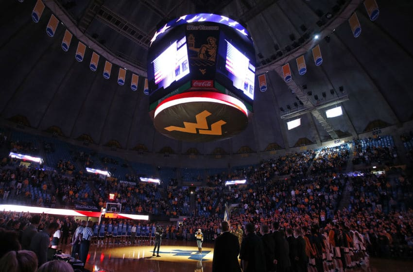 MORGANTOWN, WV - NOVEMBER 15: A view during the National Anthem before the game between the West Virginia Mountaineers and the American University Eagles at the WVU Coliseum on November 15, 2017 in Morgantown, West Virginia. (Photo by Justin K. Aller/Getty Images)