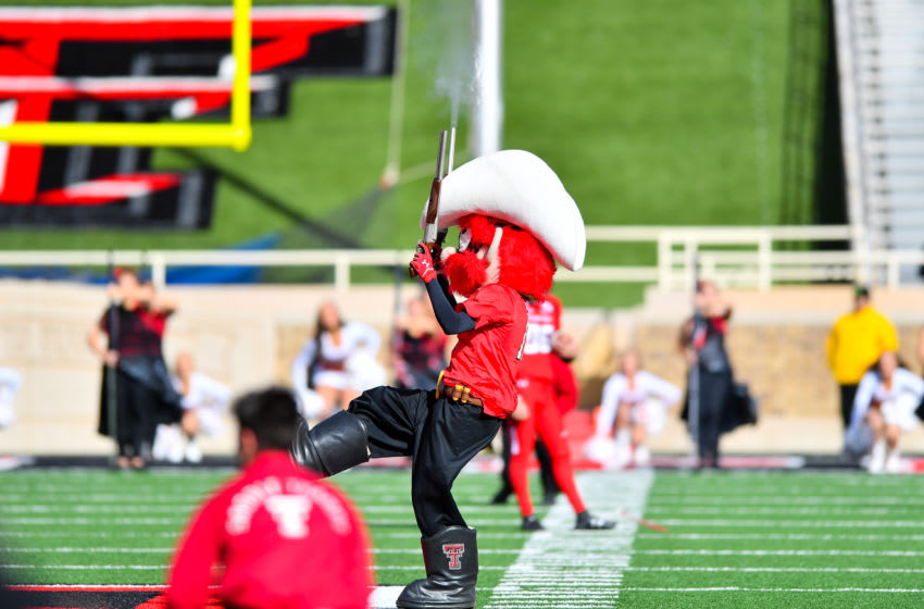 LUBBOCK, TX - NOVEMBER 18: Texas Tech Red Raiders mascot Raider Red fires his guns during pre game activities before the game between the Texas Tech Red Raiders and the TCU Horned Frogs on November 18, 2017 at Jones AT&T Stadium in Lubbock, Texas. TCU defeated Texas Tech 27-3. (Photo by John Weast/Getty Images) *** Local Caption ***