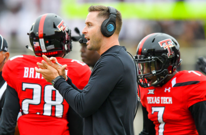 LUBBOCK, TX - NOVEMBER 05: Head coach Kliff Kingsbury of the Texas Tech Red Raiders encourages his team during the first half of the game between the Texas Tech Red Raiders and the Texas Longhorns on November 5, 2016 at AT