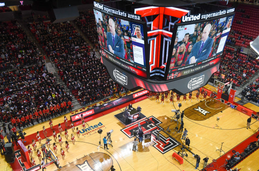 LUBBOCK, TX - FEBRUARY 24: General view of ESPN's College Game Day prior to the game between the Texas Tech Red Raiders and the Kansas Jayhawks on February 24, 2018 at United Supermarket Arena in Lubbock, Texas. (Photo by John Weast/Getty Images)