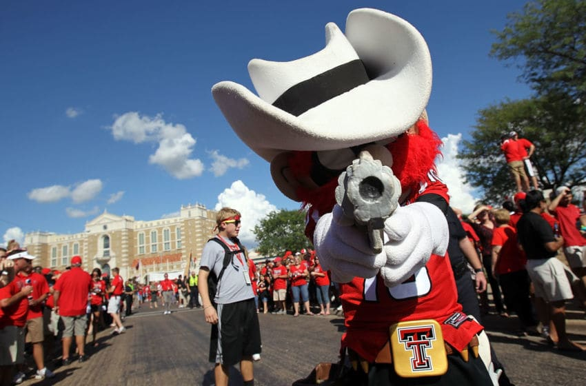 LUBBOCK, TX - SEPTEMBER 18: Raider Red, the mascot of the Texas Tech Red Raiders, poses for a photo before a game against the Texas Longhorns at Jones AT