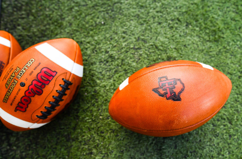 LUBBOCK, TX - SEPTEMBER 29: General view of footballs before the game between the Texas Tech Red Raiders and the Kansas Jayhawks on September 29, 2016 at AT&T Jones Stadium in Lubbock, Texas. Texas Tech won the game 55-19. (Photo by John Weast/Getty Images)
