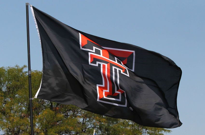 Sep 2, 2017; Lubbock, TX, USA; A Texas Tech Red Raiders flag outside Jones AT&T Stadium before the game with the Eastern Washington Eagles. Mandatory Credit: Michael C. Johnson-USA TODAY Sports