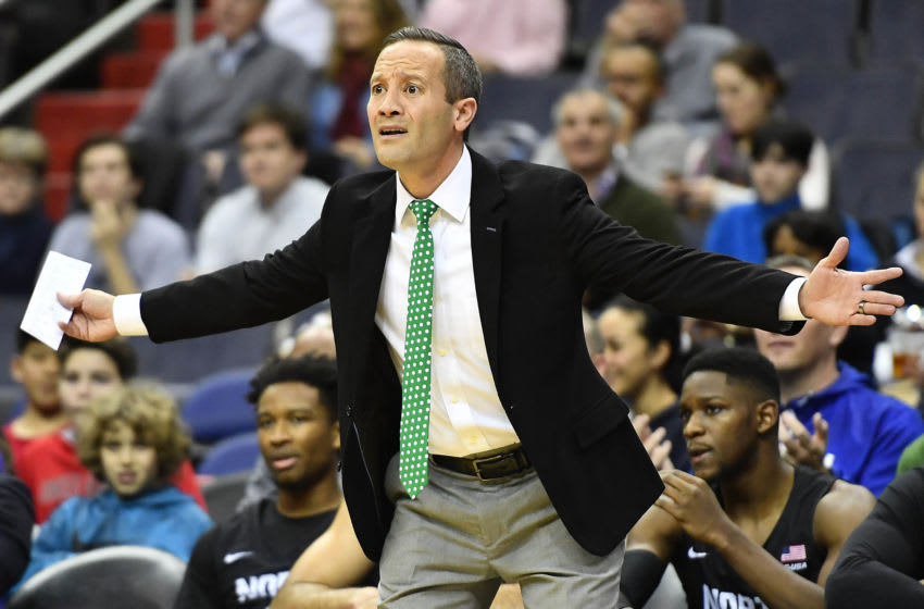 Dec 20, 2017; Washington, DC, USA; North Texas Mean Green head coach Grant McCasland reacts against the Georgetown Hoyas during the first half at Capital One Arena. Mandatory Credit: Brad Mills-USA TODAY Sports