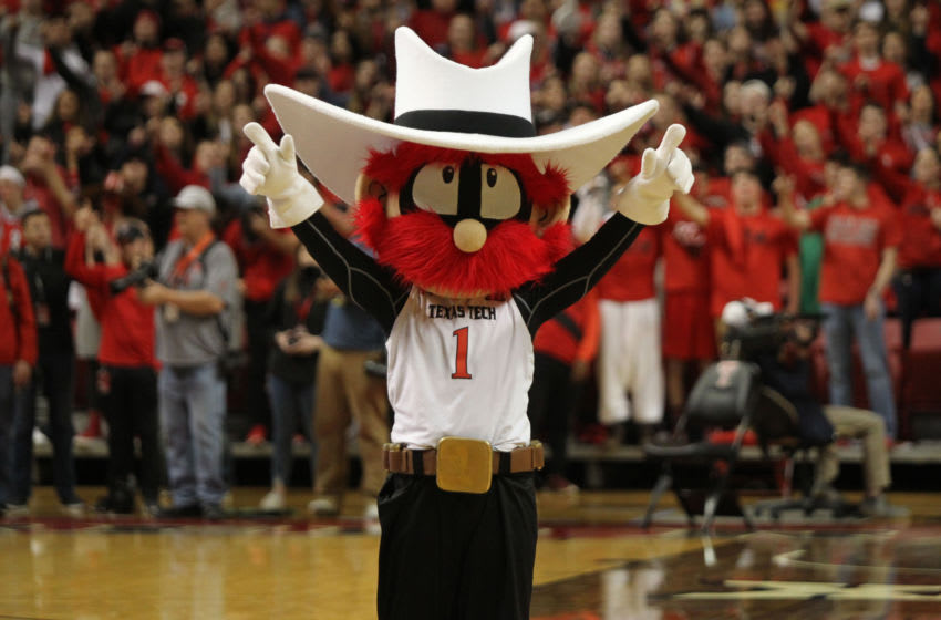 Jan 28, 2019; Lubbock, TX, USA; The Texas Tech Red Raiders mascot performs on the court before a game against the TCU Horned Frogs at United Supermarkets Arena. Mandatory Credit: Michael C. Johnson-USA TODAY Sports