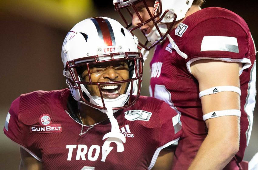Troy wide receiver Kaylon Geiger (1) celebrates his touchdown against South Alabama at Veterans Memorial Stadium on the Troy campus campus in Troy, Ala., on Wednesday October 16, 2019. Troy53