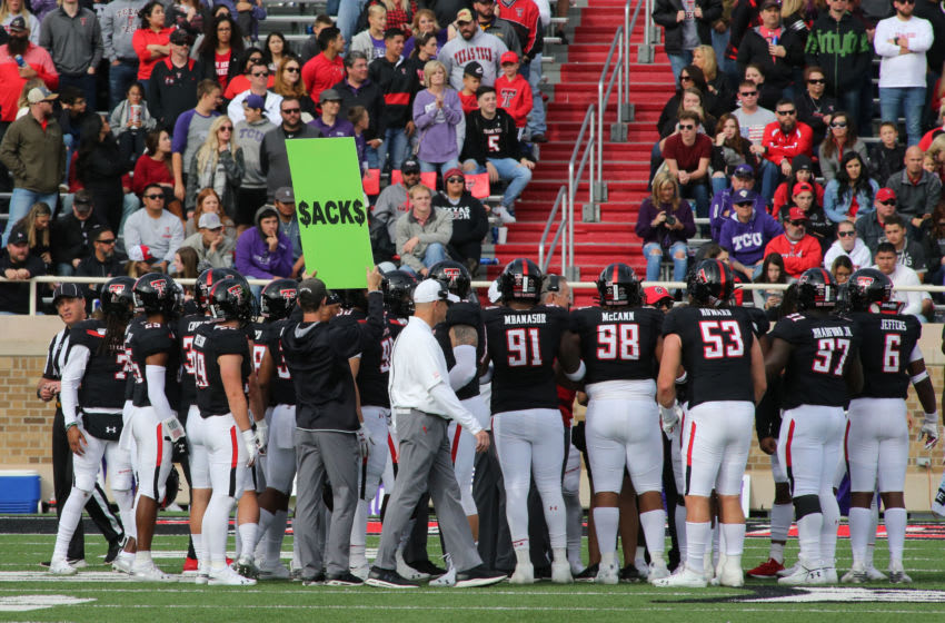 Nov 16, 2019; Lubbock, TX, USA; Texas Tech Red Raiders head coach Matt Wells looks on in the second half against the Texas Christian Horned Frogs at Jones AT&T Stadium. Mandatory Credit: Michael C. Johnson-USA TODAY Sports