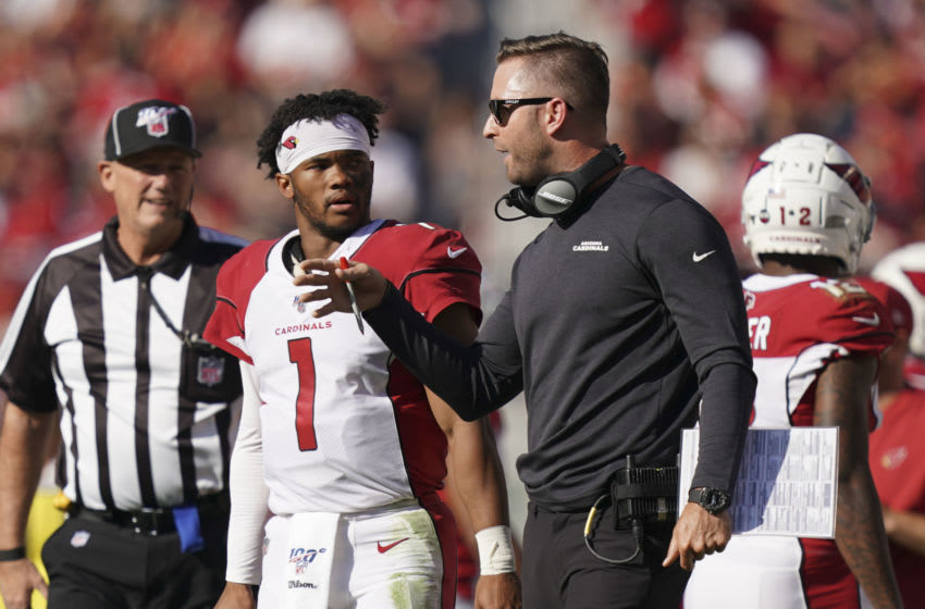 November 17, 2019; Santa Clara, CA, USA; Arizona Cardinals head coach Kliff Kingsbury (right) instructs quarterback Kyler Murray (1) during the first quarter against the San Francisco 49ers at Levi's Stadium. Mandatory Credit: Kyle Terada-USA TODAY Sports