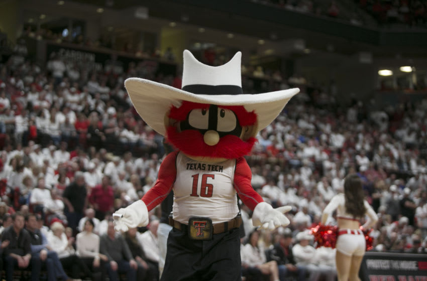 Mar 7, 2020; Lubbock, Texas, USA; The Texas Tech Red Raiders mascot during the game agains the Kansas Jayhawks at United Supermarkets Arena. Mandatory Credit: Michael C. Johnson-USA TODAY Sports