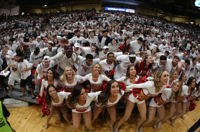 Mar 7, 2020; Lubbock, Texas, USA; Members of the Texas Tech Red Raiders student body during a timeout in the game against the Kansas Jayhawks at United Supermarkets Arena. Mandatory Credit: Michael C. Johnson-USA TODAY Sports