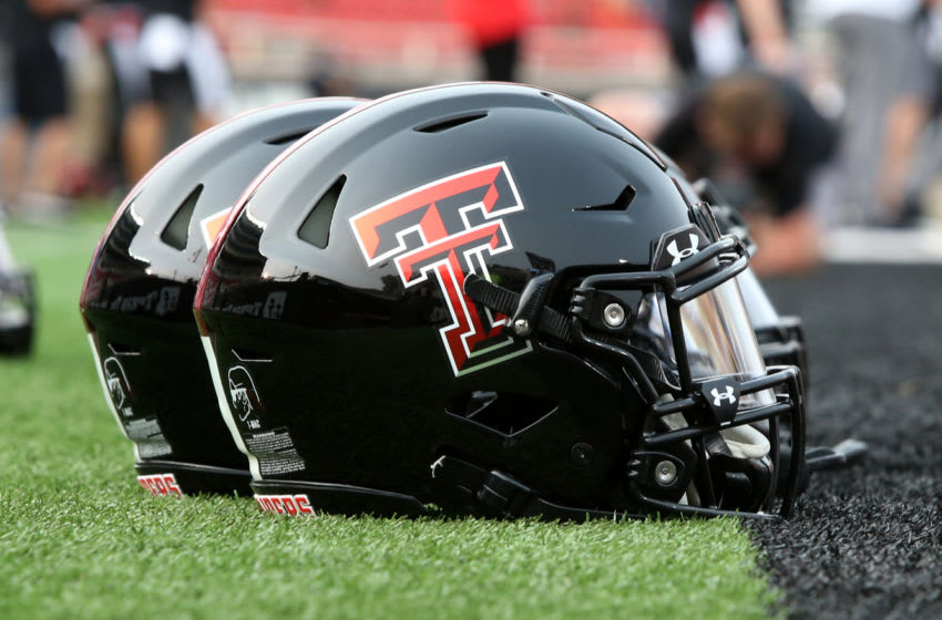 Sep 12, 2020; Lubbock, Texas, USA; Texas Tech Red Raider helmets are seen on the field before a game against the Houston Baptist Huskies at Jones AT&T Stadium. Mandatory Credit: Michael C. Johnson-USA TODAY Sports
