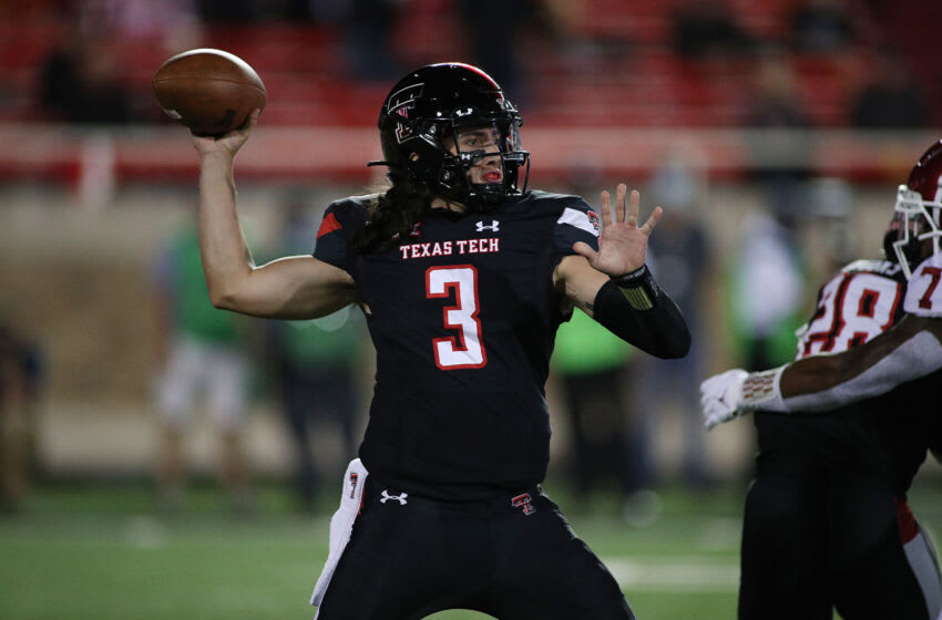 Oct 31, 2020; Lubbock, Texas, USA; Texas Tech Red Raiders quarterback Henry Colombi (3) passes against the Oklahoma Sooners in the first half at Jones AT&T Stadium. Mandatory Credit: Michael C. Johnson-USA TODAY Sports