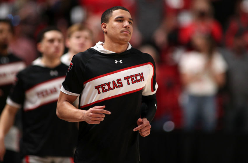 Feb 1, 2021; Lubbock, Texas, USA; Texas Tech Red Raiders guard Kevin McCullar (15) during warm ups before the game against the Oklahoma Sooners at United Supermarkets Arena. Mandatory Credit: Michael C. Johnson-USA TODAY Sports