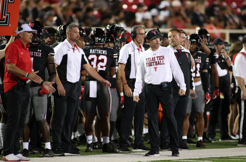 Oct 9, 2021; Lubbock, Texas, USA; Texas Tech Red Raiders head coach Matt Wells on the sidelines in the second half in the game against the Texas Christian Horned Frogs at Jones AT&T Stadium. Mandatory Credit: Michael C. Johnson-USA TODAY Sports